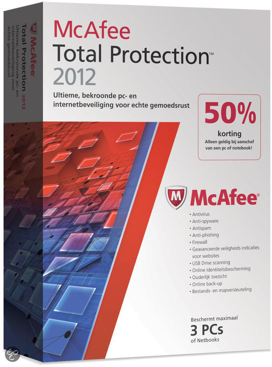 McAfee Total Protection 2012 - 3 gebruikers / Nederlands / WIN / Half Price Dvd Promo