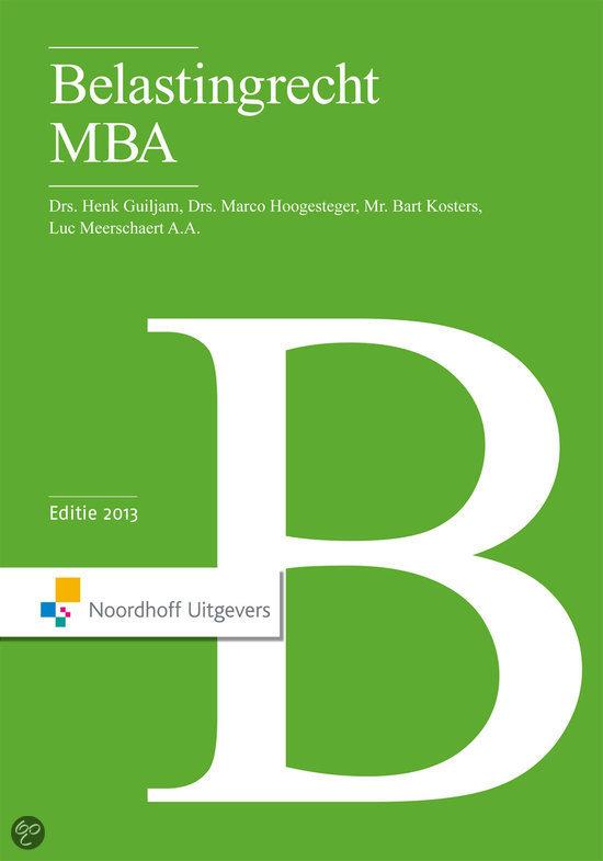 Belastingrecht MBA 2013