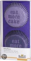 Birkmann Papieren Muffinvormpjes 'Eat More Cake' Ø 7 cm - 48 Stuks - Paars