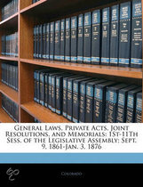 General Laws, Private Acts, Joint Resolutions, and Memorials