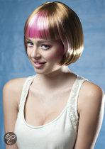 Pruik Fabienne bruin/roze