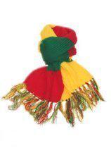 Sjaal gebreid rood/geel/groen