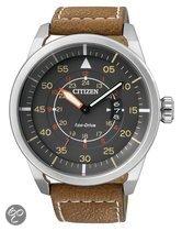 Citizen Eco-Drive - Polshorloge - Leer - 45 mm - Zilverkleurig / Grijs - Solar uurwerk