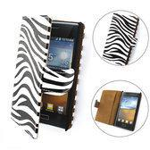 TCC Luxe Hoesje LG Optimus L4-2 Book Case Flip Cover E440 - Zebra