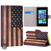 Bookcase hoesje Amerikaanse vlag Nokia Lumia 520