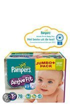 Pampers Active Fit - Luiers Maat 3+ - Jumbo Pack Midi Plus 78st