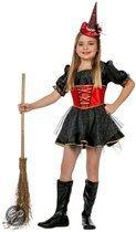 Halloween Heksen jurk zwart met rood voor kinderen 116
