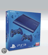 Sony PlayStation 3 Console 500GB Super Slim + 2 Wireless Dualshock 3 Controllers - Blauw PS3