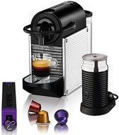 Magimix Nespresso Apparaat  La M110  Pixie + Aeroccino 3 Melkopschuimer - Dotted Steel