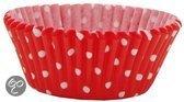 Mason Cash Cupcake bakje - Papier - Polkadot motief - Rood - 50 stuks