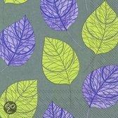 IHR Leaf Like Servetten - 16.5 x 16.5 cm - Grijs