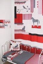 Taftan - Gordijn geruite kat 145 x 280 cm - Zwart/rood