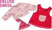 Bayer Poppenkleding Jurk met Bijpassende Shirt en Muts - Roze