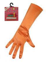 Handschoen satijn oranje stretch 40cm