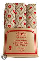 KOM Amsterdam Tulip set met 3 theedoeken - 50x70 cm - Tulp Rood