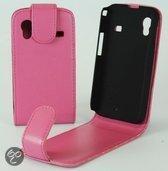 Faux Flip case hoesje Samsung S5830 Galaxy Ace roze