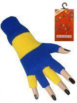Vingerloze handschoen blauw - geel