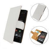 TCC Luxe hoesje Sony Xperia C Book Case Flip Cover C2305 - Wit