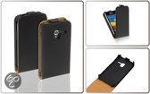 LELYCASE Flip Case Lederen Hoesje Samsung Galaxy Ace Plus Zwart