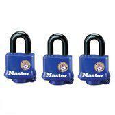 3x MasterLock all weather blauw hangslot 40mm x 10mm, 312EURTRI