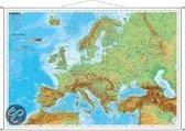 Europa, physisch 1 : 7 500 000. Wandkarte Kleinformat mit Metallstäben