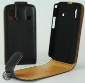 Faux Flip case hoesje Samsung S5830 S5830i S5839i Galaxy Ace zwart
