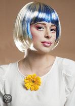 Pruik Fabienne platinumblond/blauw