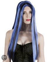Halloween Pruik Heks - blauw/zwarte streep