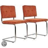 Buisframestoel Retro Classic Rib - Oranje - Set van 2
