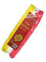 Crepe guirlande rood/wit/geel 24m brandvertragend