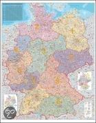 Deutschland Postleitzahlenkarte 1 : 750 000. Wandkarte Grossformat ohne Metallstäbe