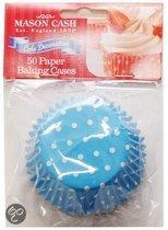 Mason Cash Cupcake bakje - Papier - Polkadot motief - Blauw -50 stuks