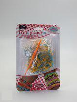 Blister Loom - Elastiekjes - Oranje+ Appleblauw/Zeegroen Glittertjes - Hobby & Creatief