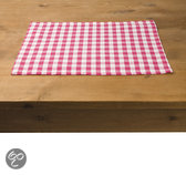 In the Mood Karo Placemat - 33 x 45 cm - 4 stuks - Fuchsia