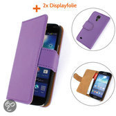 TCC Luxe Hoesje Samsung Galaxy S4 Mini Book Case Flip Cover - Paars