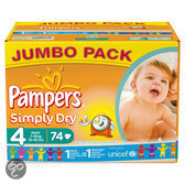 Pampers Simply Dry - Luiers Maat 4 Jumbo box 74 st.