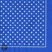 IHR Polka Dots Servet - Lunch - Wit/Blauw