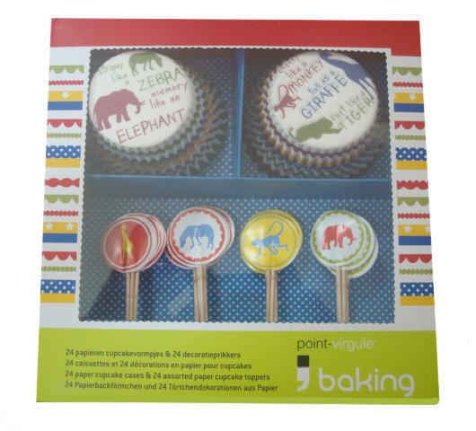 Point-Virgule Bakgereenschapset - Cup cakes & Toppers - Cute Like Safari - Set van 24