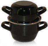 Mosselpan - ø 12 cm - zwart - emaille Voccelli