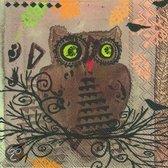 IHR Owl Cocktailservetten - 12.5 x 12.5 cm - Bruin