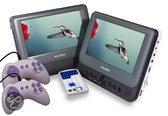 Salora DVP9048TWIN - Portable DVD-speler met 2 schermen - 9 inch - Grijs/Wit