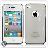 iPhone 4 & 4S siliconen cover case S-line design TPU hoes - transparant