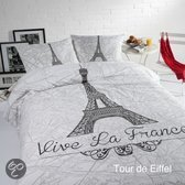 Papillon Tour d'Eiffel dekbedovertrek - Wit - 2-persoons (200x200/220 cm + 2 slopen)