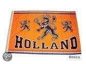 Benza - EK/WK Voetbal Oranje vlag met Nederlandse Leeuw - Groot