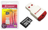 Transcend 16 GB Micro SDHC Geheugenkaart met Card Reader