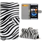 Zebra patroon bookcase hoesje HTC One mini