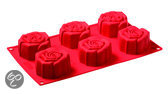 PavonIdea Bakmat - Siliconen - 6 Roosvormen - Rood