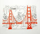 Modern Twist Mark Matz Fun in the Golden State Placemat - 40 x 32 cm - Wit