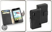 LELYCASE Bookstyle Wallet Case Flip Cover Bescherm Hoesje LG Optimus L5 ll  Zwart