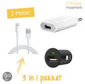3 in 1 Autolader 12V / USB adapter 5 W oplader / Lightning 2 meter wit (voor iPhone 5 / 5S / 5C)